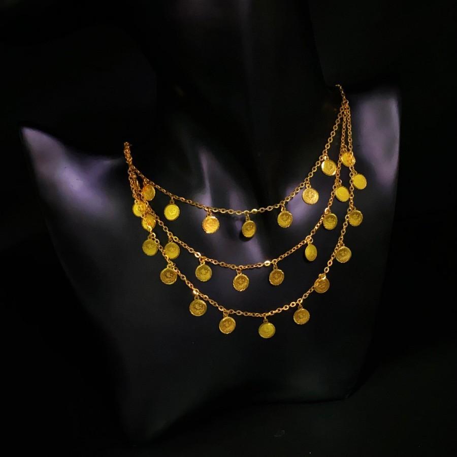 Wedding - 21K Real Solid Gold Necklace - Designer Jewelry - Arabic Design Necklace - Turkish Lira