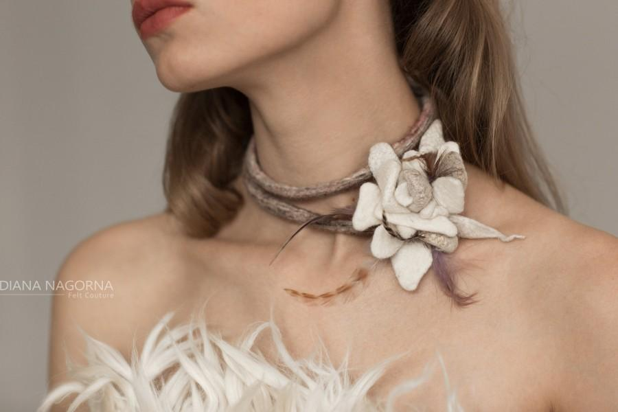 Wedding - wedding accessories,white felt bracele ,Modern Bracelet ,bangle,unusual accessory,collar,white flowers