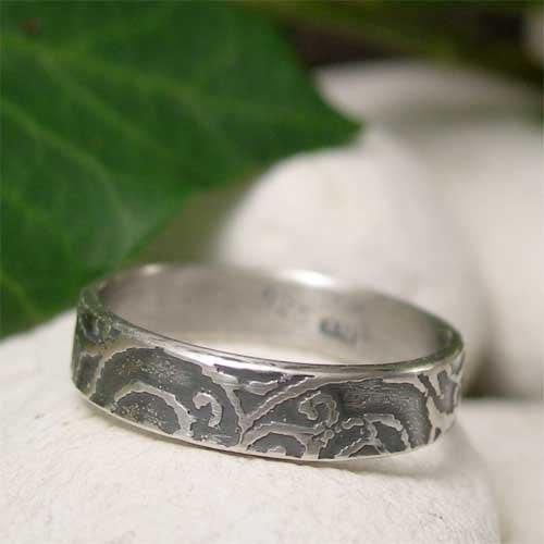 Wedding - Sterling Silver Ring Band, Sea Spiral Texture, Sea Ring, Nature Jewelry, Hand Forged Metal Ring, Men's Ring, Women's Ring, Organic Jewelry