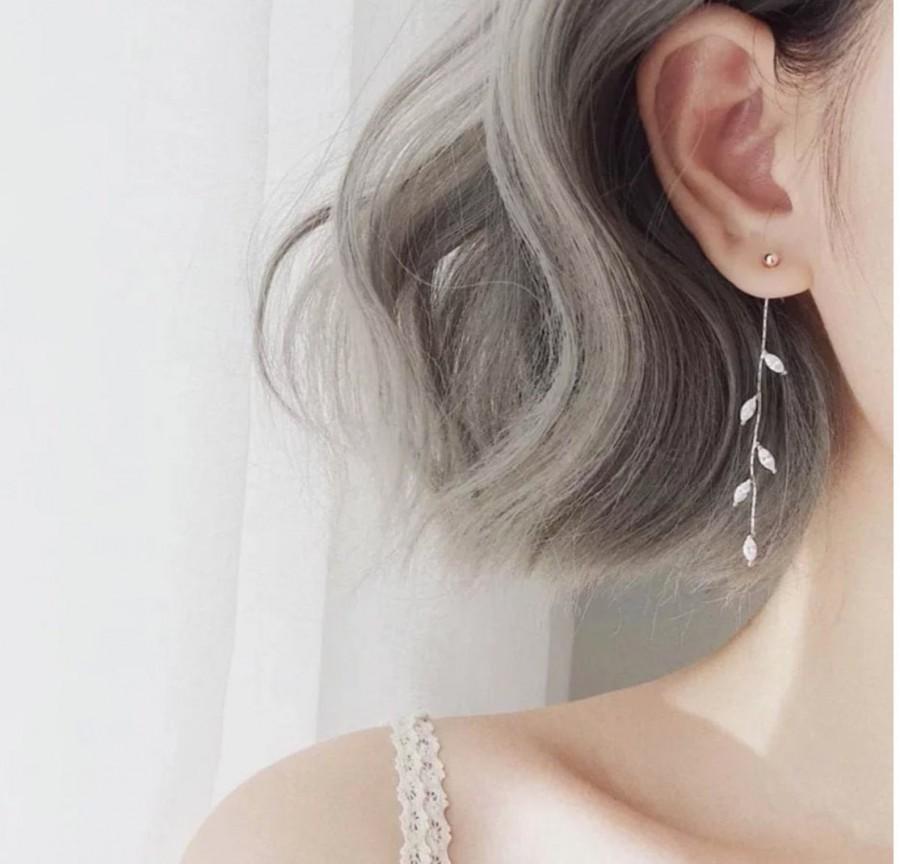 Wedding - Ohrringe, Lange Ohrringe, florale Ohrringe, Blätter Ohrringe, Braut Ohrringe, bridal earrings, Brautschmuck, Hochzeitsschmuck