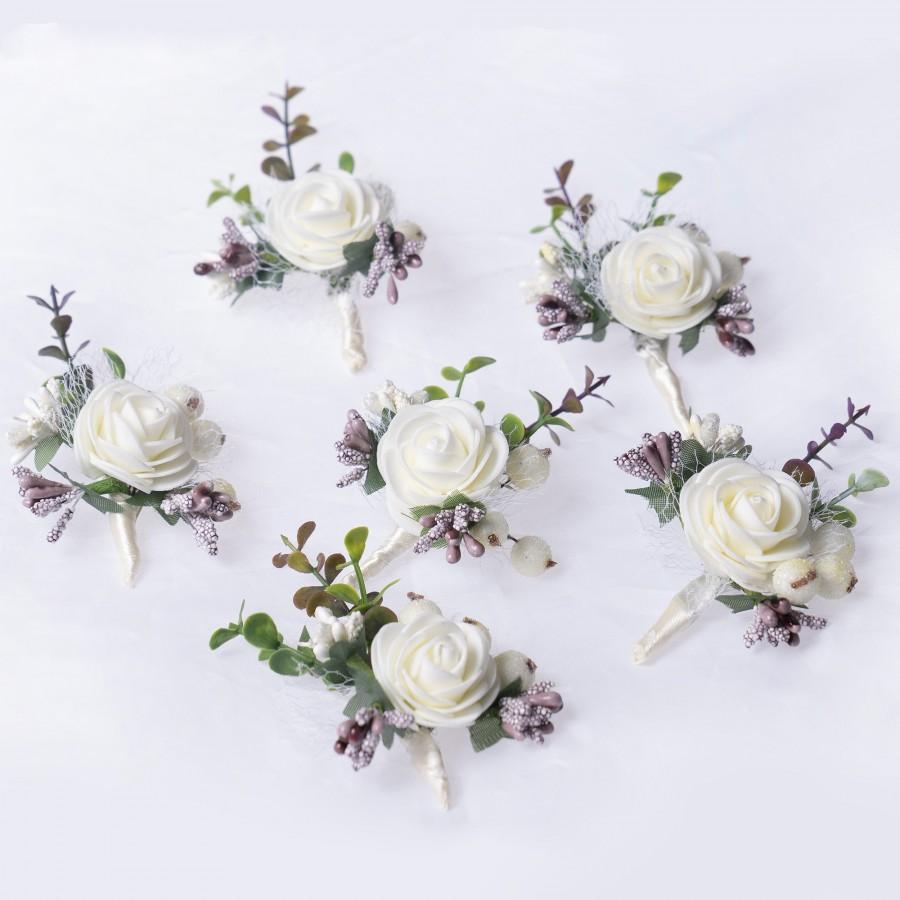 Wedding - Wedding boutonniere, Groomsman boutonniere, Fiance boutonnière, White and purple bouton hole, Prom rose buttonholes, Rose keepsake for kids