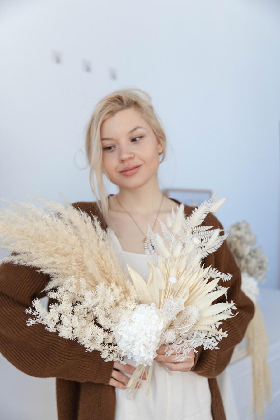 Wedding - Preserved Hydrangea & Pampas Grass Boho Bouquet / Palm Spear Bouquet