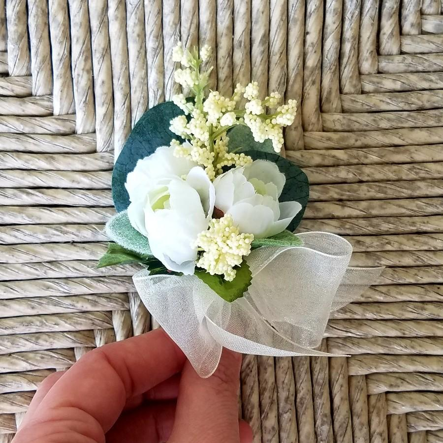 Wedding - Pin-On Wedding Corsage, Mini-Rose Corsage, Ivory Corsage, White Corsage