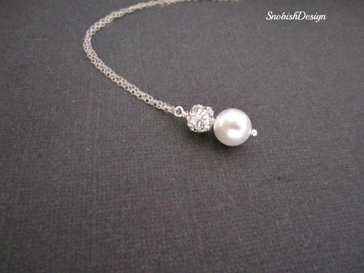 Wedding - Single Pearl Necklace, Dainty Crystal Necklace, Delicate Bridesmaids Necklace, Sparkly Bridal Necklace, Bride Jewelry, Bridal Party Gifts