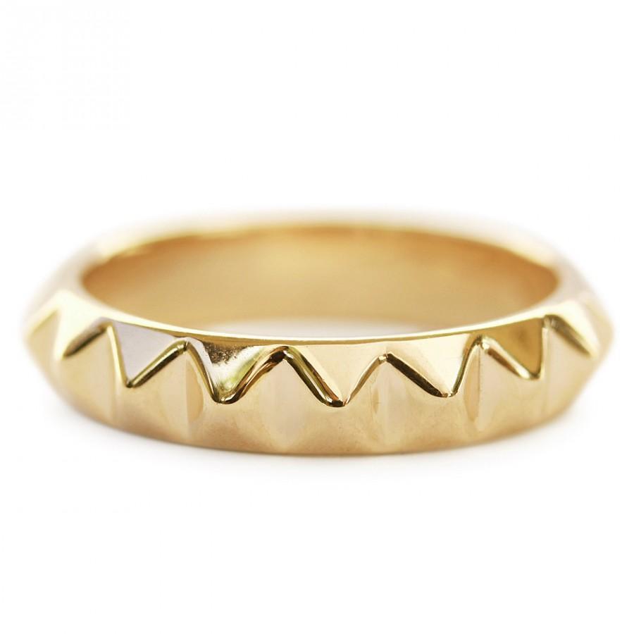 Wedding - Gold Pyramid Ring, Solid Gold Wedding Band, 14K / 18K Gold Ring, Women Wedding Band, Unique Wedding Ring, Pyramid Ring, Gold Rings for Women