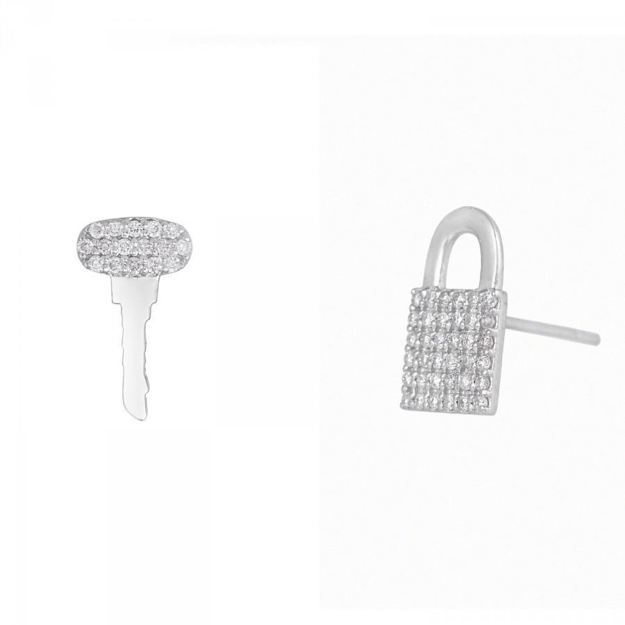 Wedding - 14k White Gold Natural Diamond Stud Earrings Lock And Key Shape Valentine Day Holiday Love Gift For Women Designer Earring Fine Jewelry