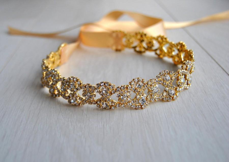 "Wedding - 18-44"" Gold Dress Sash Belt, Wedding dress Bridal Sash, Rhinestone Bridal Bridesmaid Sash Belt, All around Wedding dress sash"