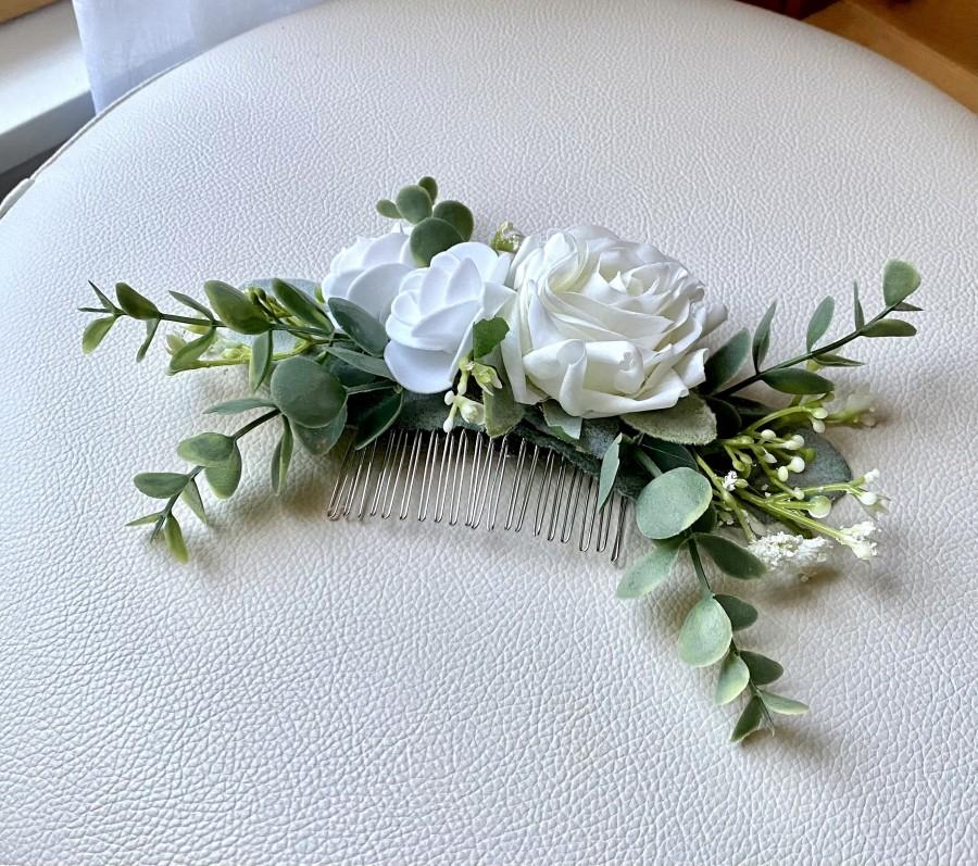 Wedding - Boho rose hair comb, white rose flower comb, wedding hair accessory, eucalyptus greenery hair flowers