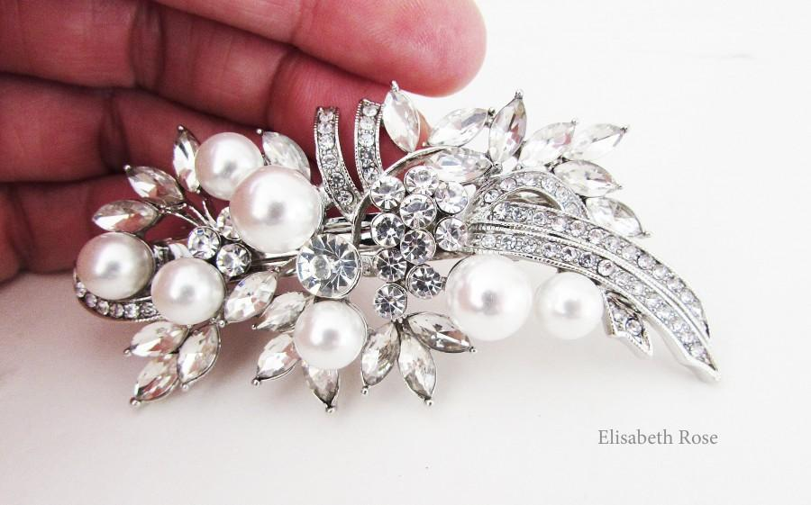 Wedding - Rhinestone and White Pearl Bridal Hair Barrette, Crystal and Pearl Hair Clip for Bride, Wedding Day Hair Barrette, Bridal Pearl Hair Clip