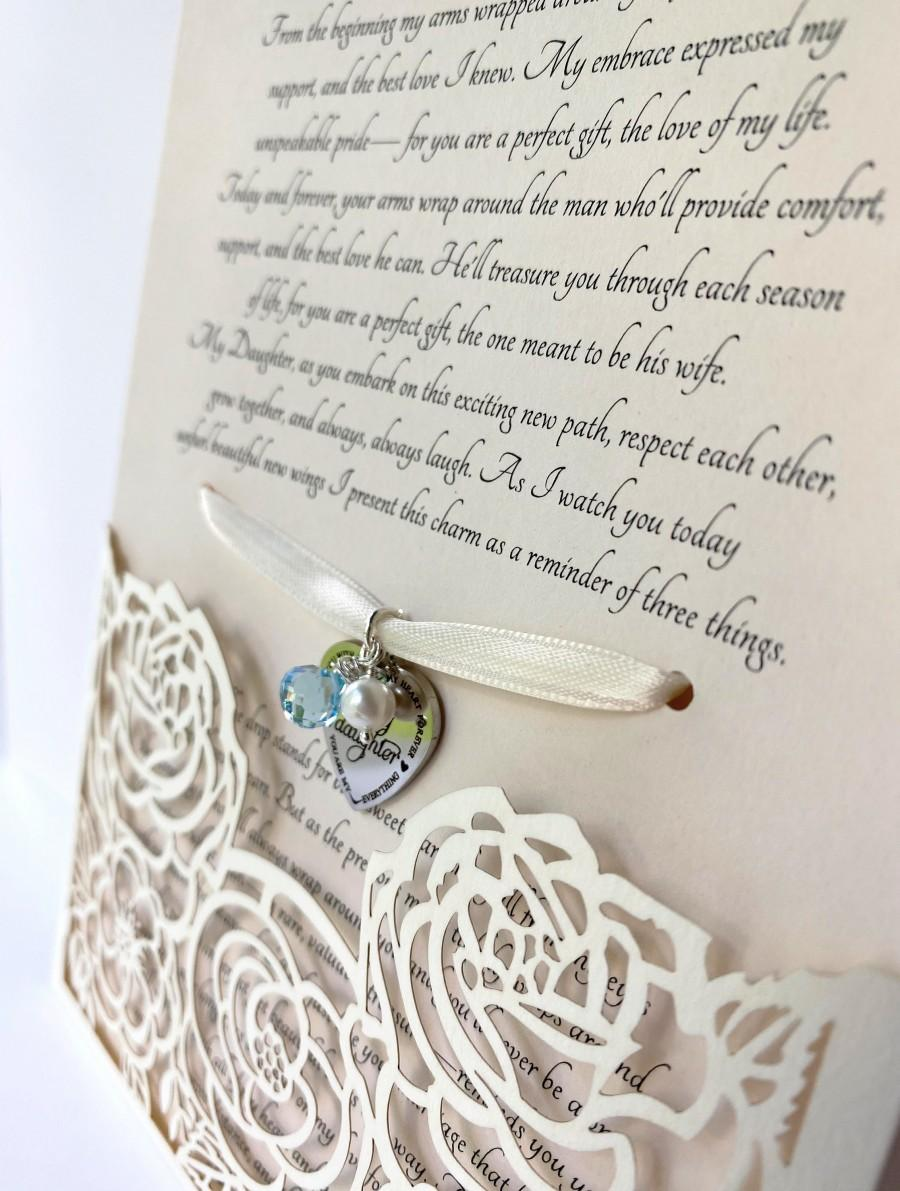 Wedding - Gift for Daughter on Wedding Day-Mother to Bride-Wedding Gown Charm-Bridal Bouquet Charm-Something Blue-Mom to Bride-Off-White Envelope BCOW