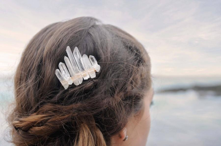 Wedding - Quartz Crystal Comb, Custom Wedding Comb, Gold Crystal Comb, Silver Crystal Comb, Bridal Comb, Braid Jewelry, Quartz Comb, Bridal Hair Comb