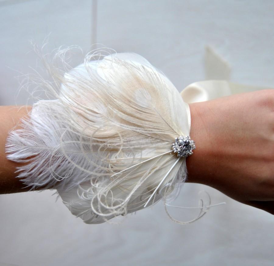 Wedding - Wedding Bride Corsage Great Gatsby Wedding Wristlet Feathrs  Corsage Keepsake  Feacock Wrist Corsage Prom Mother Bridesmaid 1920s Corsage