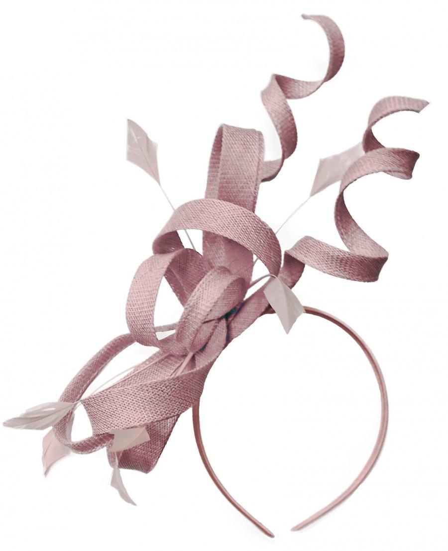 Wedding - Caprilite Dusty Pink Wedding Swirl Fascinator Headband  Alice Band Ascot Races Loop Net