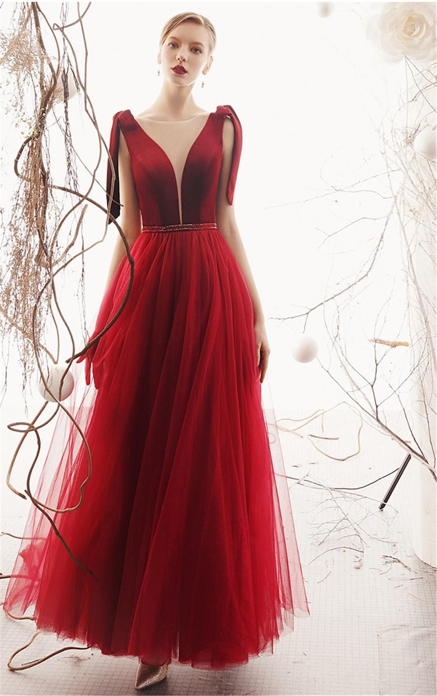 Wedding - Red Tulle Wedding Store Deep V-Neck Bridal Dress Lace Up Back Prom Dress A-Line Floor Length Formal Event Dress Dark Red Party Dress Long