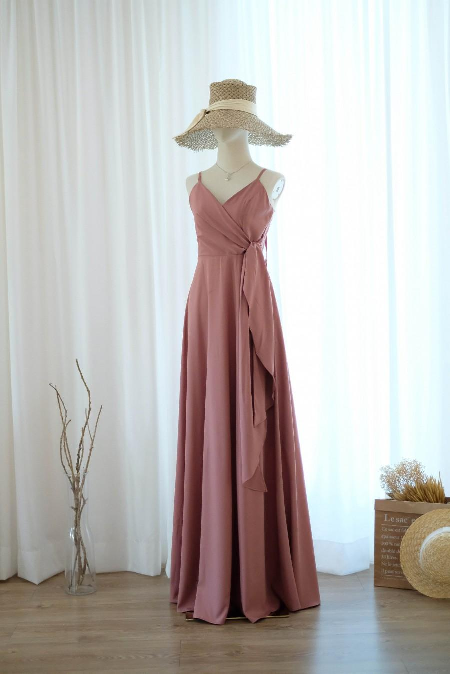Wedding - English rose pink dress Maxi bridesmaid dresses party cocktail dress long party dress wedding guest simple bridesmaid robe