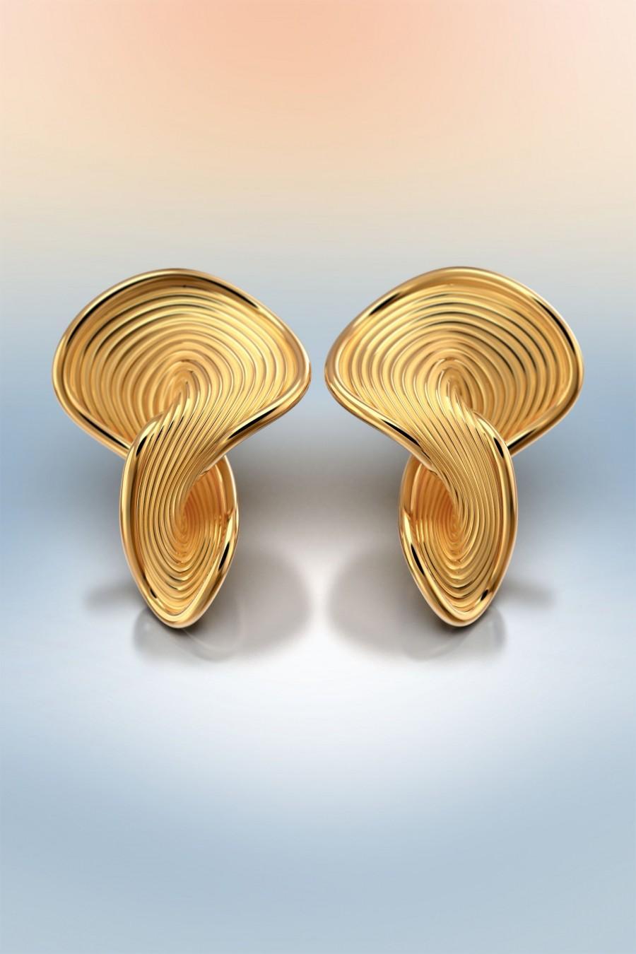 Wedding - Italian solid gold earrings 18k or 14k real gold, modern yellow gold stud earrings, Italian fine jewelry