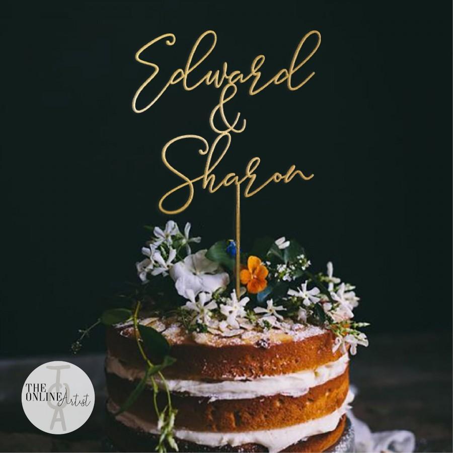 زفاف - Personalized Wedding Cake Topper / Gold Mr and Mrs Cake Toppers for Wedding / Rustic Wedding Cake Topper / Custom wedding Cake topper