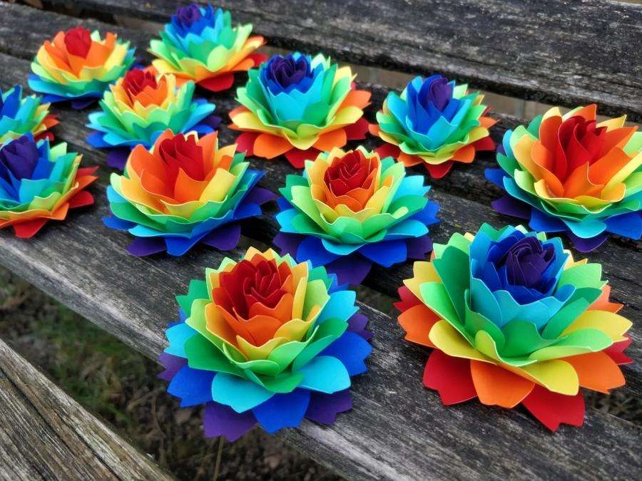 Wedding - Rainbow Dahlia Paper Flowers. ROYGBIV. Cake Topper, Wedding Favors, Gift, Decoration, Anniversary, Birthday, Gay Pride.