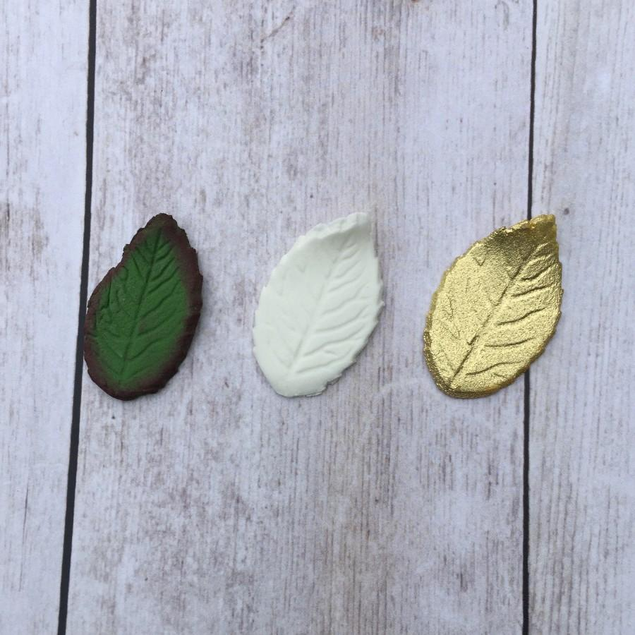 Wedding - Set of 10 Rose Gumpaste Rose Leaves Choose Green White or Gold Small Medium or Large with or without wire