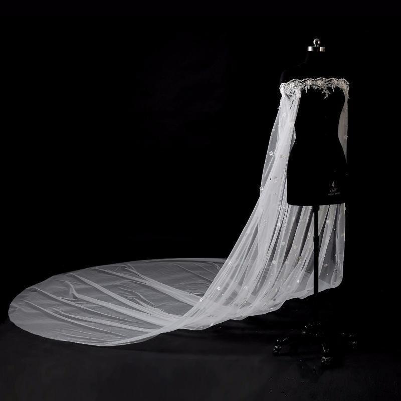 Wedding - Wedding Cape Veil Bridal Shoulder Veil White/Ivory Tulle Long Cape Cloak Shawl with lace Wraps jacket