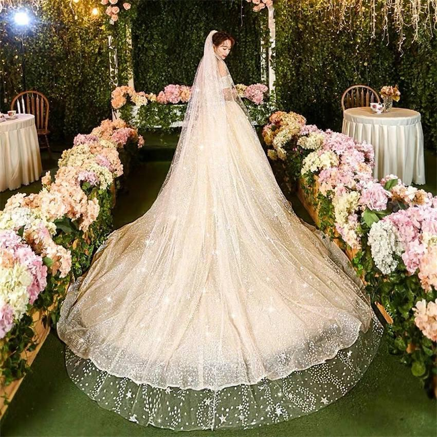 Hochzeit - Cathedral Wedding Veil with Sparkle/ Glitter Star Chapel bridal veil/ Handmade veils for bride/Wedding veils with Glitter/White or Champagne