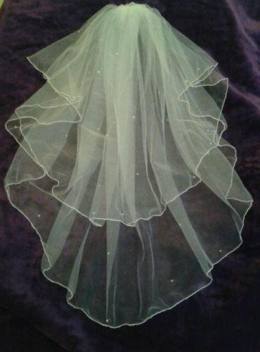 """Wedding - Ivory elbow length wedding veil 25"""" / 30"""" with Swarovski Crystals Cut or pencil edged Full circle veil 2 tier. Other options FREE UK POSTAGE"""