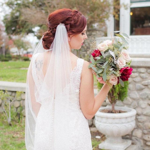 "Wedding - Drape style Ivory wedding veil. Cathedral Length 108""  Cut or Pencil edge .  Choice of accents and widths. Boho veil, swarovski crystals"