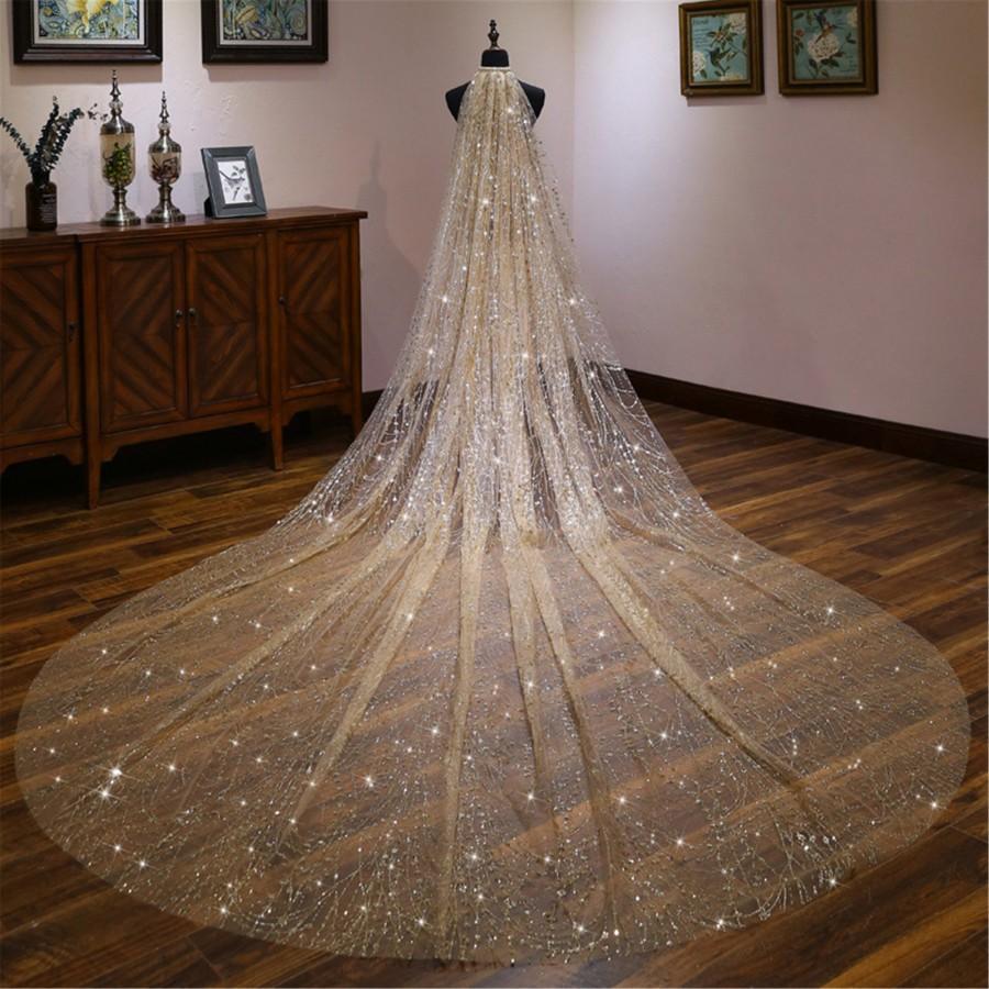 Wedding - Luxury Golden Bridal Veil Sparkling Wedding Veil Long Wedding Veil Glitter Gold Bridal Veil Cathedral Wedding Veil Stunning Wedding Decor