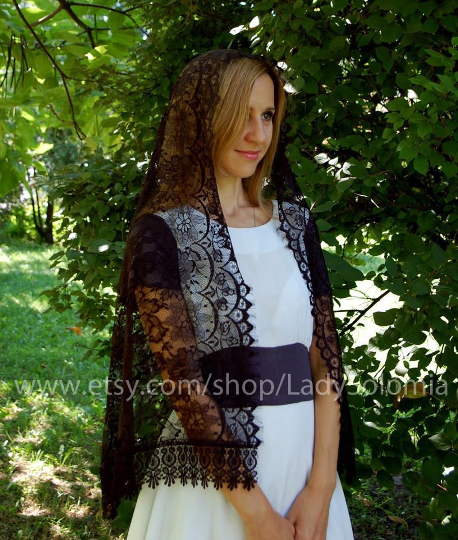 Hochzeit - Black Catholic Mantilla, Orthodox veils, Black Catholic Veil, Black Lace scarf, Church head scarf, Black Mantilla Veil Black veil Latin mass