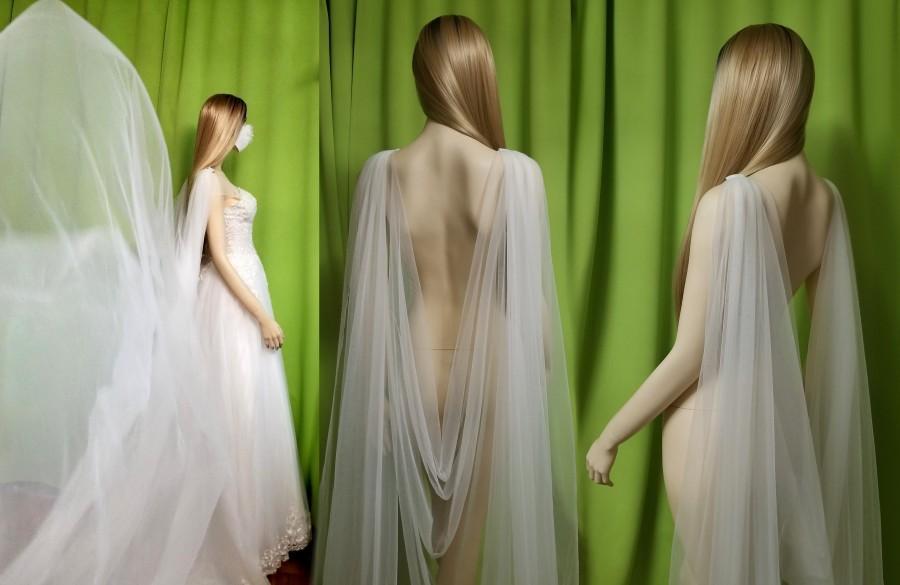 زفاف - Braut Schleier Wasserfall-Schultercape V-Schulter-Umhang drapiert Hochzeit Cape 180-300cm Schleppe weiß / ivory + Brautmaske gratis