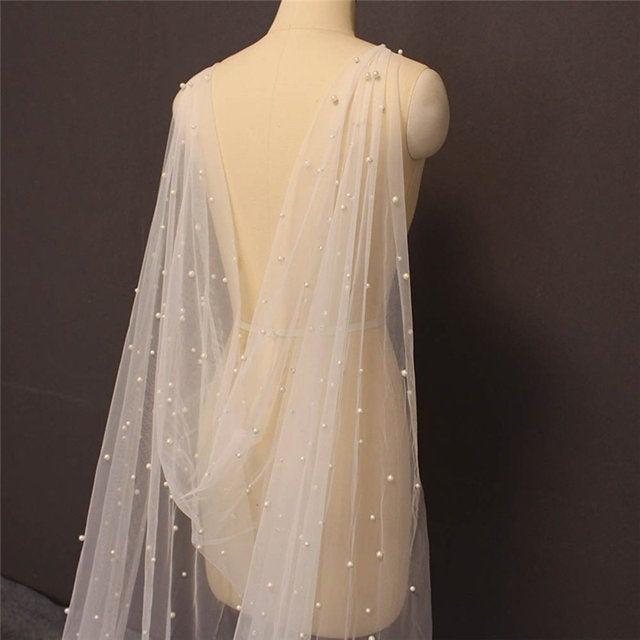 Hochzeit - Pearl Modern Cathedral Long Cape Veil, Tulle Wedding Cape,Soft pearl wedding Bridal Veil,soft sheer wedding cape,long chapel veil cape cloak