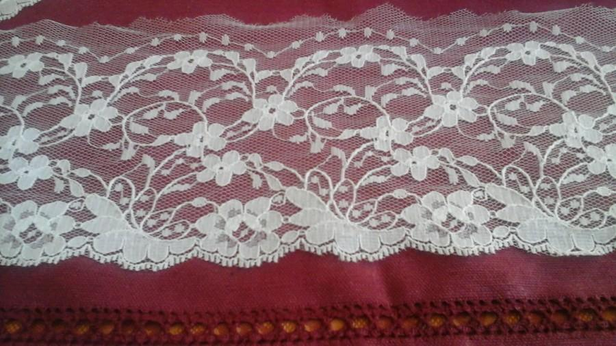 Свадьба - Pretty white Calais lace in polyamide measuring 12 cm wide