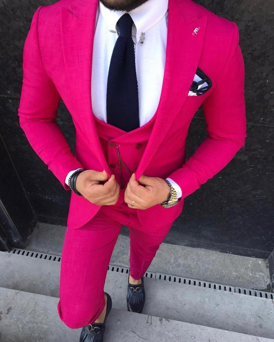 Wedding - 3 Piece, Wedding, Formal, Costume, Blue, Ceremony, Skinny, Prom, Pink, Beige, Sax Blue, Casual, Cotton, Slimfit, Fuschia, Plain Mens Suits