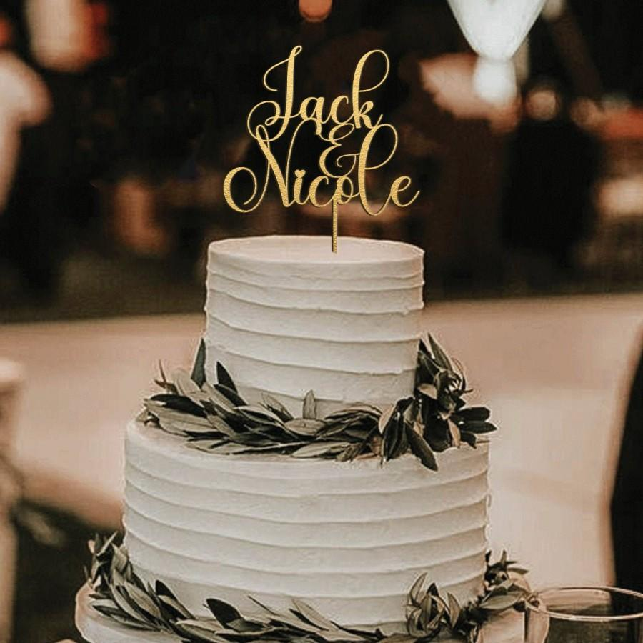 Wedding - Gold Cake topper for Wedding, Wedding cake toppers, Cake topper wedding, Custom name cake topper, Anniversary Cake topper