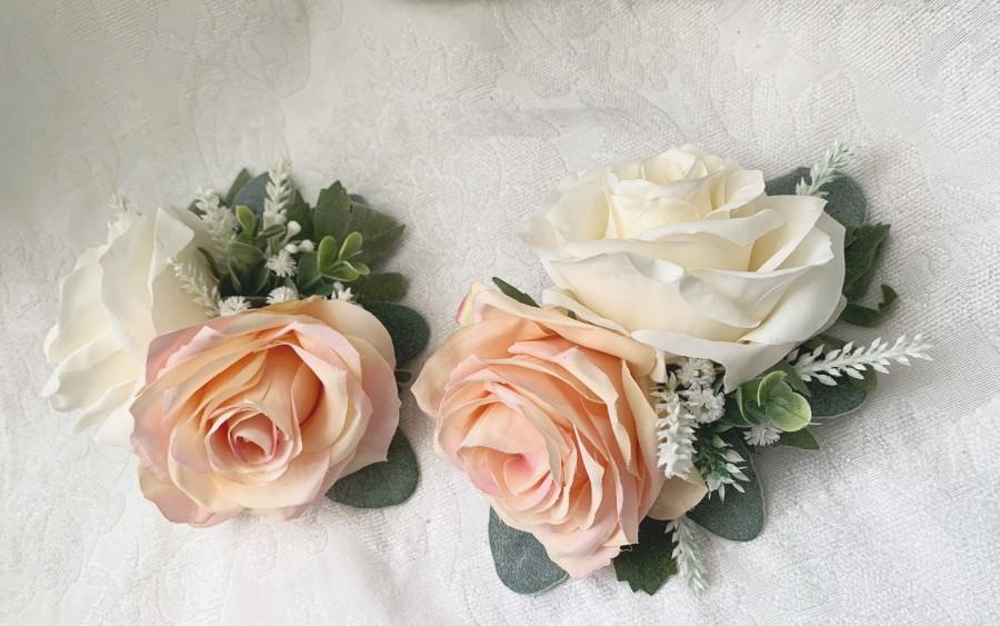 Wedding - Wedding Cake Decoration Cake Arrangement Topper Artificial Flowers Wedding Decor Flowers Peach Cream Wedding Floral Arrangement Cake Topper