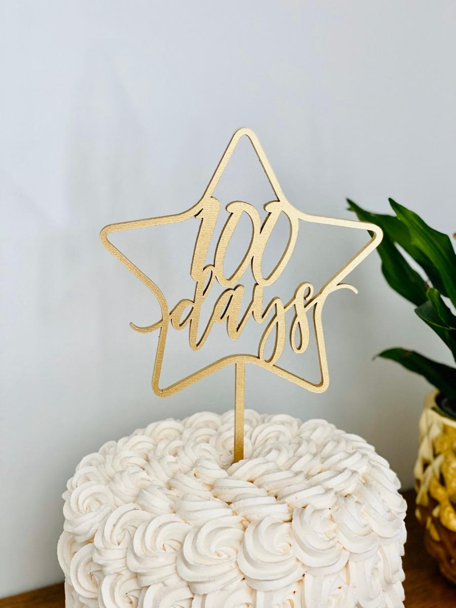 """Mariage - 100 days Star Cake Topper, 5.5"""" inches wide - Happy 100 Days Cake Topper, Baby Cake Topper, Baby Celebration, Korean Dol Cake Topper"""