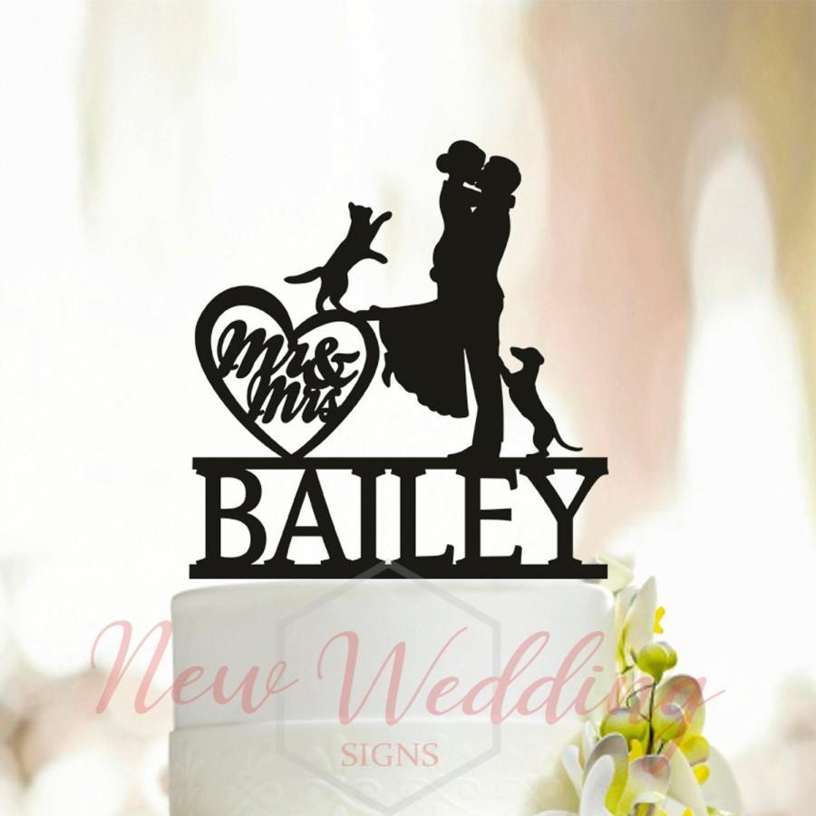 Wedding - Include Your Dog Silhouette,Wedding Cake Topper with Dog,Pet Wedding Cake Topper,Custom Wedding Cake Topper,Dachshund Cake Topper,Cat  A004