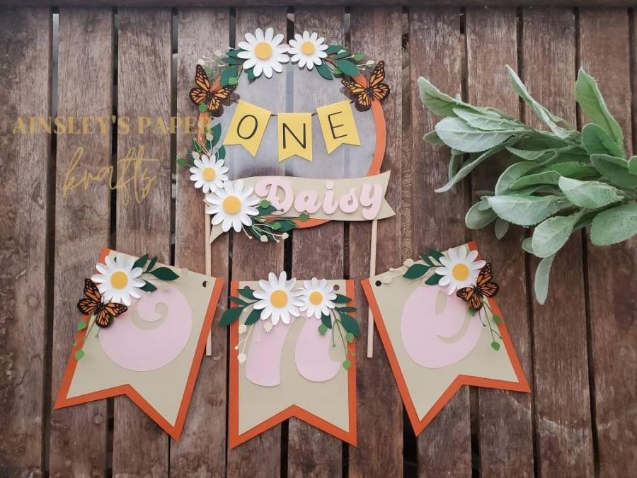 Mariage - Wildflower, little folk,retro bohemian first birthday theme party cake topper and banner set