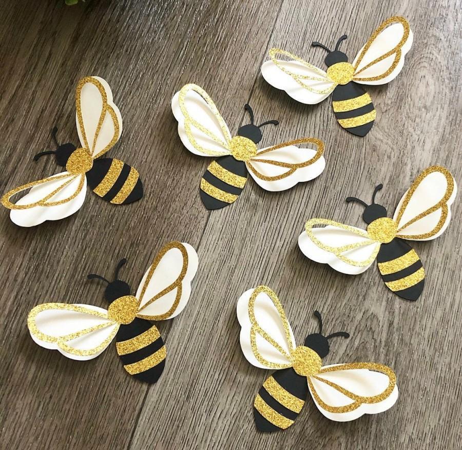 زفاف - 6pcs 3D bumble bee paper wall decor , What will it BEE, nursery wall art, bee happy, bee party theme, girls room decor, baby shower gift