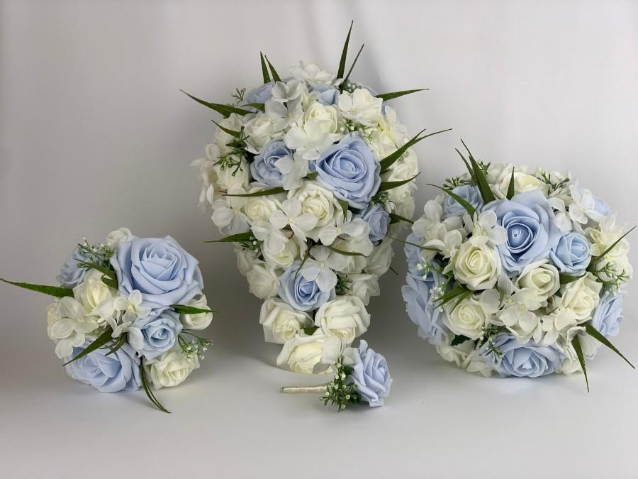 Mariage - Artificial wedding bouquets flowers sets ivory & baby blue roses hydrangea