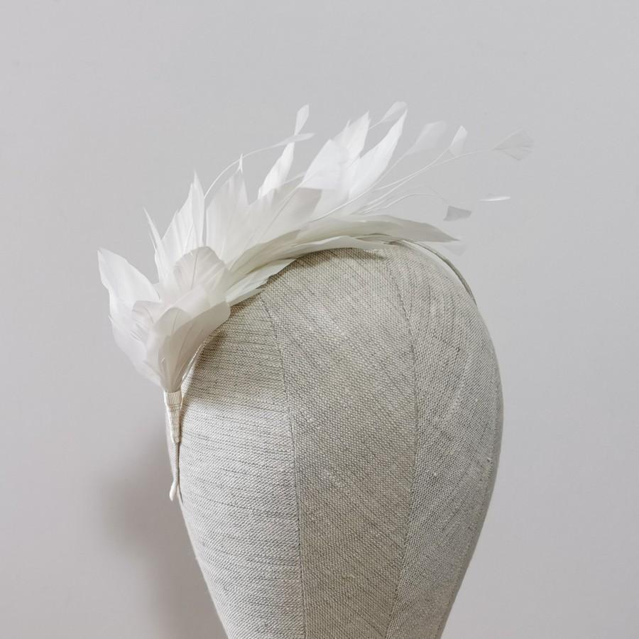 Mariage - Ivory Pale Light Cream Feather Headband Fascinator Feathers Wedding Bridal Bridesmaids Hair Accessory Brunette Blonde Gold Silver 'Luna'