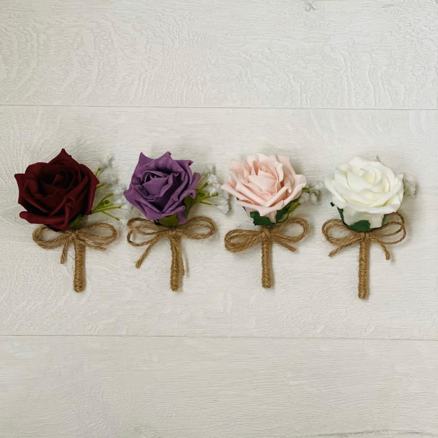 Mariage - Rustic Rose Buttonhole, Ivory, Burgundy, Blush pink, Mauve, groom, groomsmen, wedding flowers, boutonniere, corsage