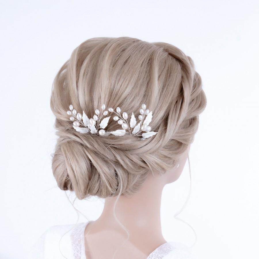 Hochzeit - PERLEN ZWEIGE / Bridal hair accessories, hairpin from leaves & freshwater pearls, bridal hair accessories in IVORY silver / gold / rosé