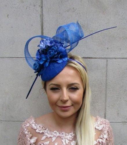 Свадьба - Royal Blue Rose Flower Feather Pillbox Hat Hair Fascinator Races Wedding 5712