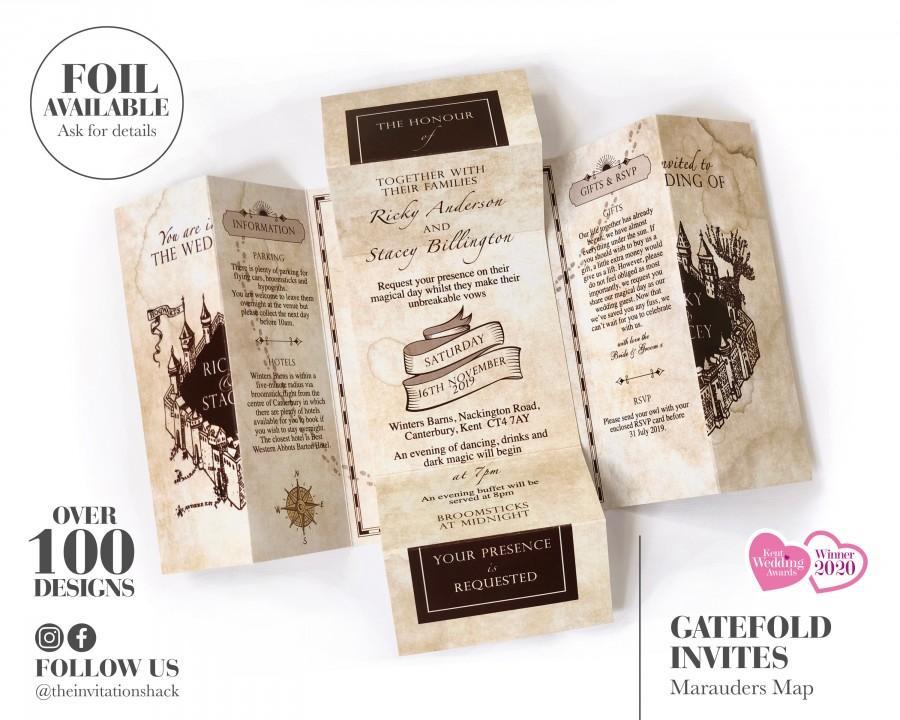 زفاف - Harry Potter Wedding Invitations, Marauders Map Invitation, Hogwarts Wedding Invite, Vintage Map Invites, Rustic
