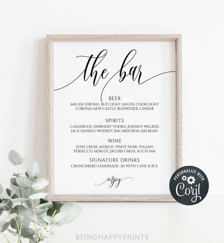 Hochzeit - Wedding Bar Menu Sign, Printable Calligraphy Bar Menu Template, Modern Bar Sign, 8x10, Instant Download, Edit with Corjl, yv348