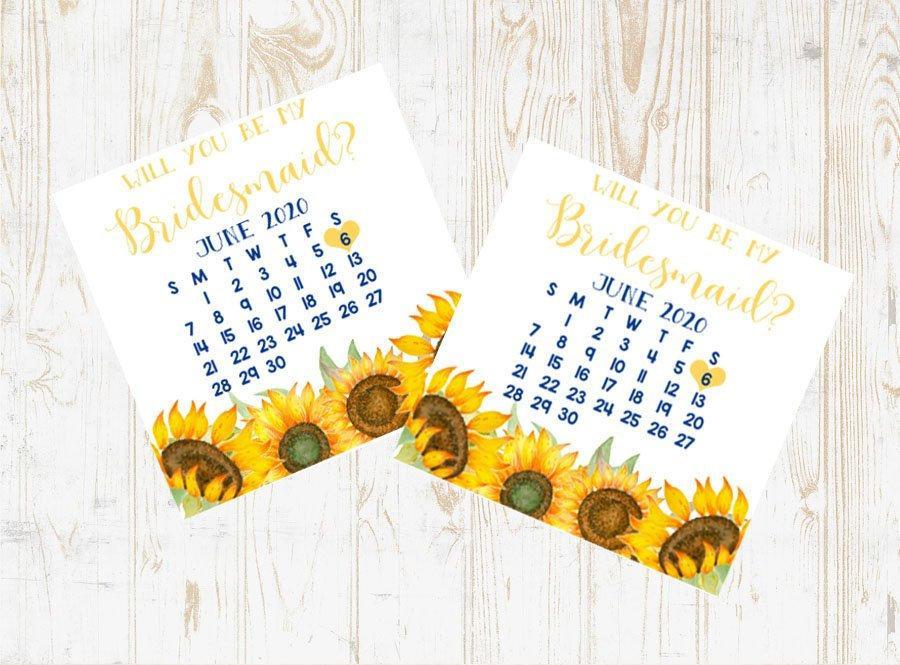 Hochzeit - Bridesmaid Proposal Calendar, Save The Date, Bridesmaid Calendar Card, Will you be my Bridesmaid? Floral Bridesmaid wedding date card