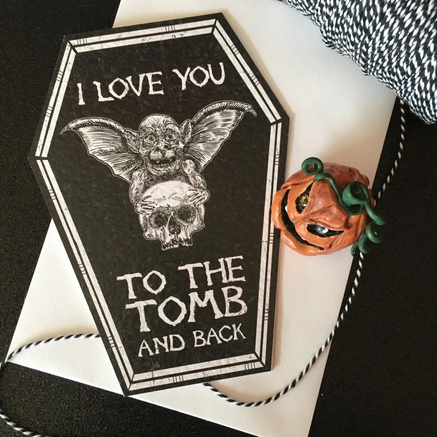 Hochzeit - NEW COFFIN CARDS - I love you to the tomb and back - Alternative anniversary, valentine, love card. Skeleton gothic cute. Goth Card