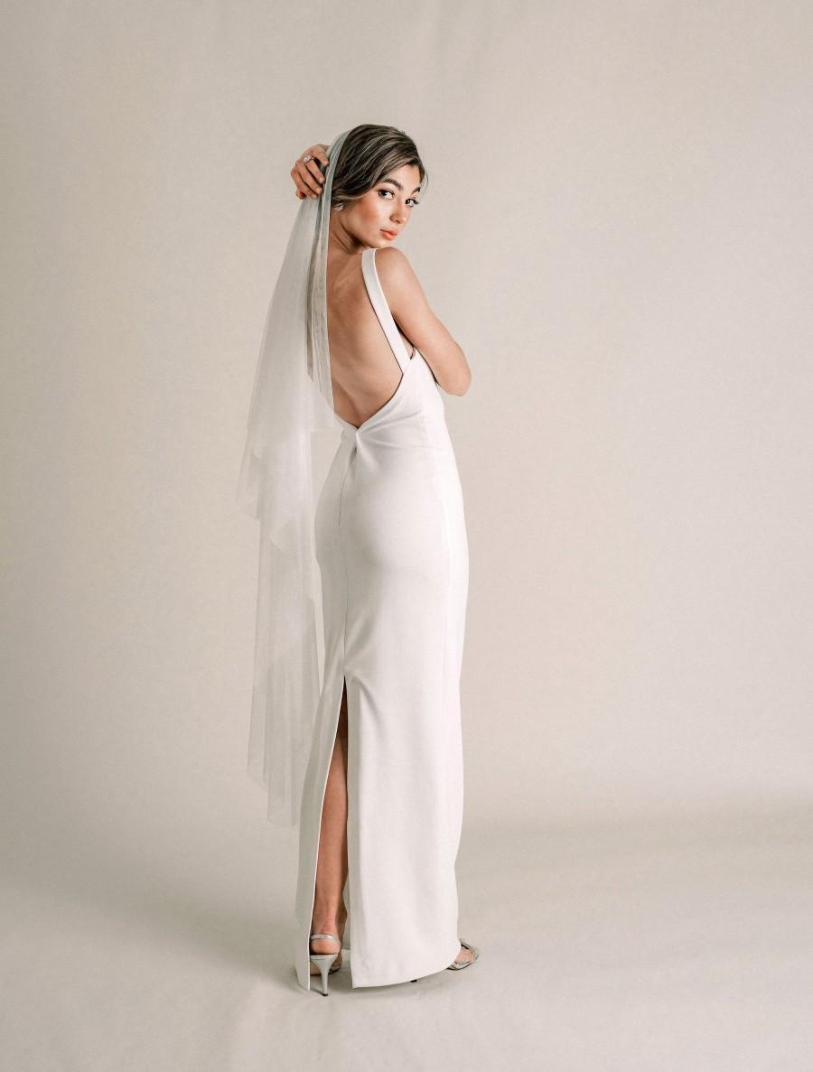 Mariage - Celeste Veil - Waltz Length Drop Veil, Morbido Tulle Veil with Blusher, Calf Length Veil, English Netting Tulle, Ivory Tulle, Soft Veil