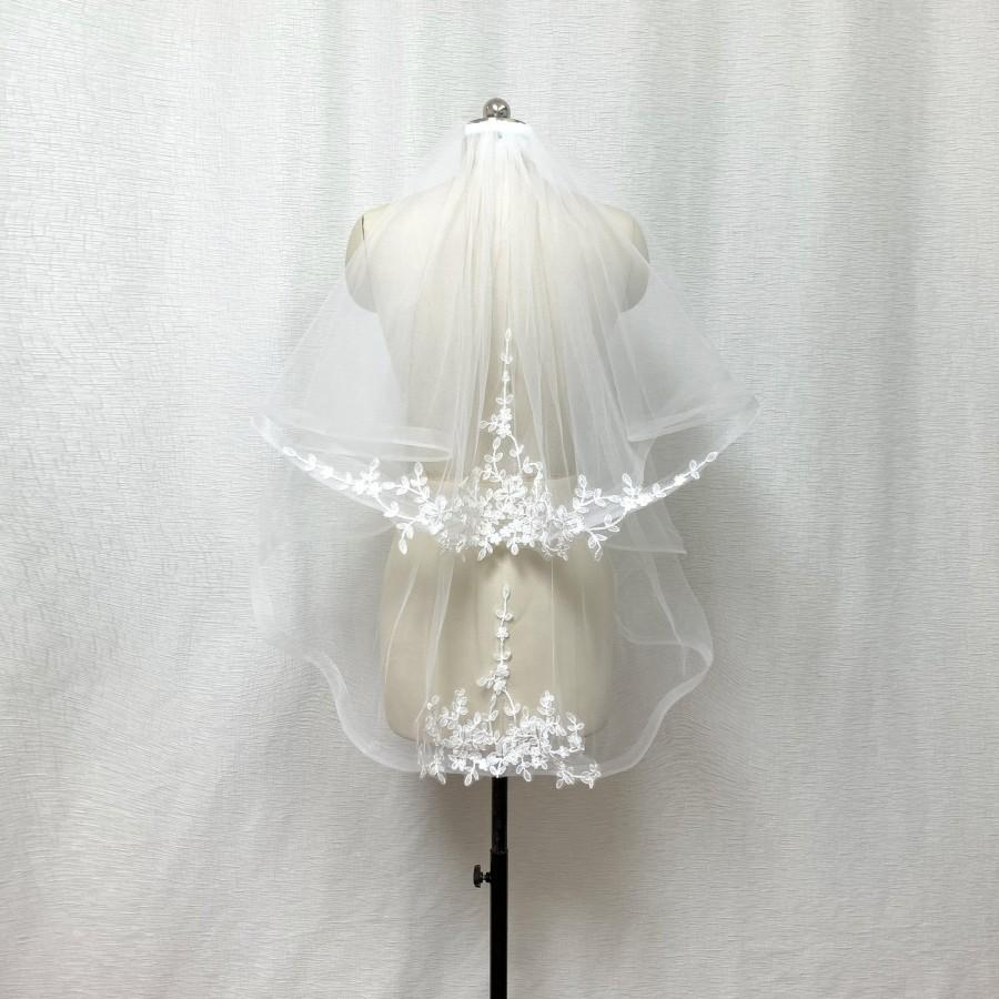 """Mariage - 2 Tier 1"""" Horsehair Trim Lace Applique Ivory Wedding Veil with Comb"""